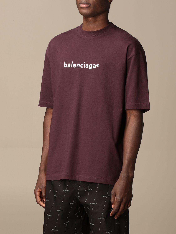 T-shirt Balenciaga: Balenciaga cotton t-shirt with logo violet 4