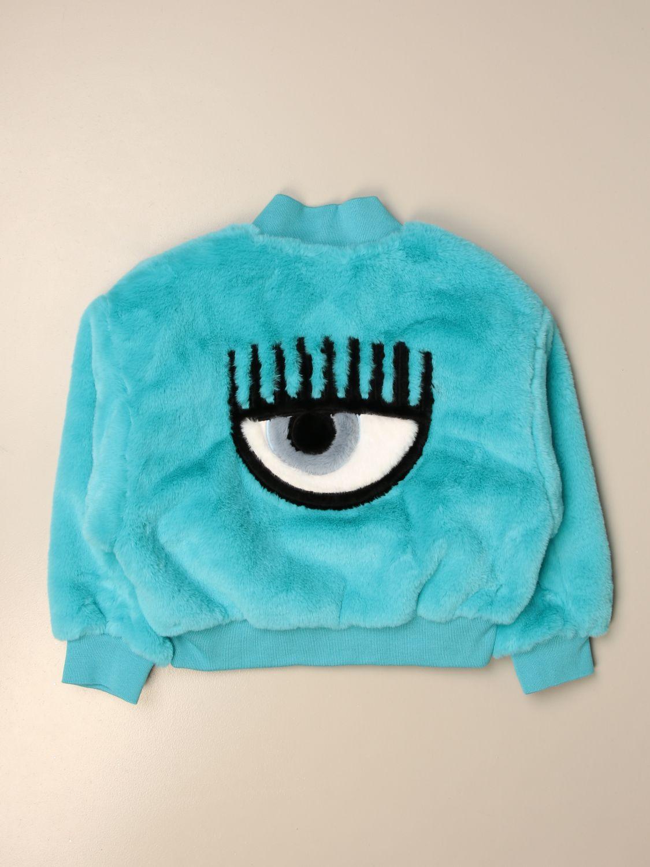 Abrigo de pelo sintético Chiara Ferragni: Chaqueta niños Chiara Ferragni turquesa 2