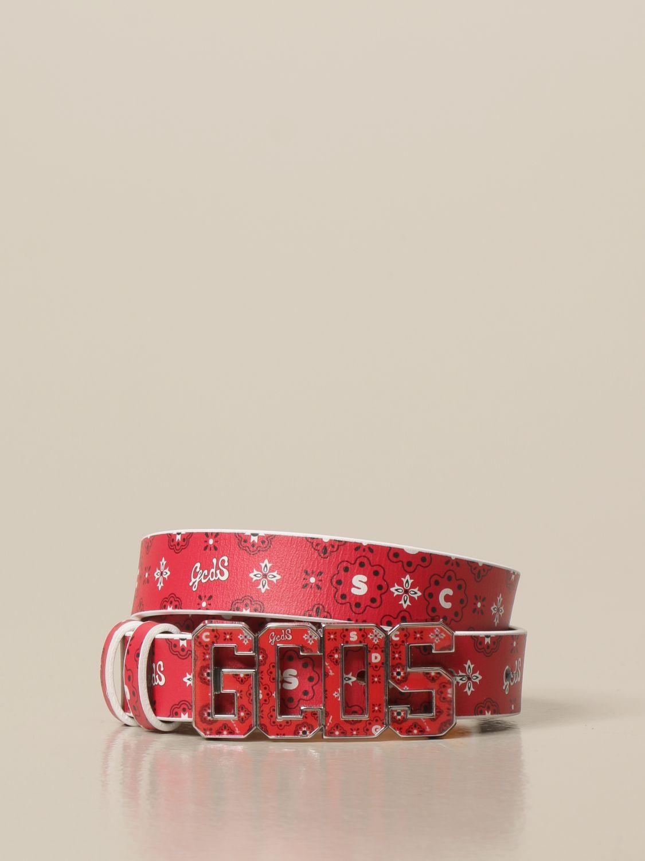 Cintura Gcds: Cintura GCDS in pelle con stampa rosso 1