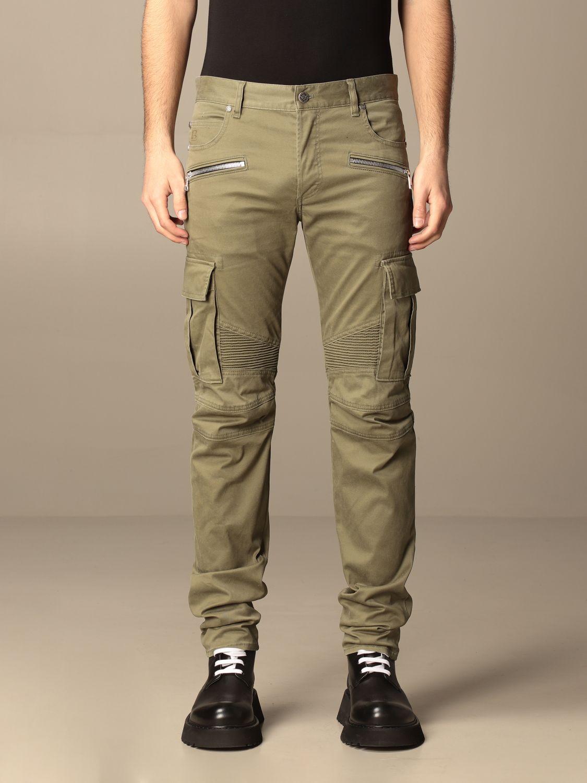 Pants Balmain: Balmain trousers with zip and patch pockets green 1