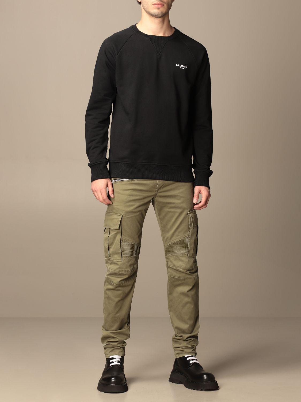 Pants Balmain: Balmain trousers with zip and patch pockets green 2
