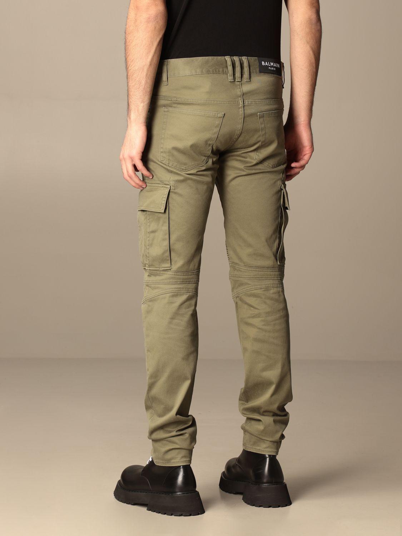 Pants Balmain: Balmain trousers with zip and patch pockets green 3