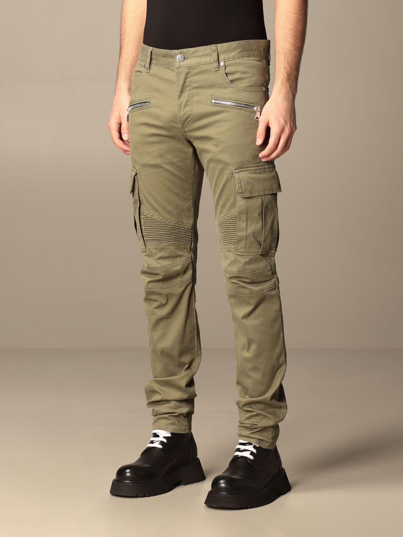 Pants Balmain: Balmain trousers with zip and patch pockets green 4