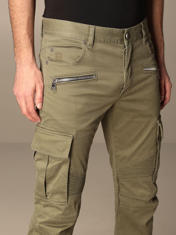 Pants Balmain: Balmain trousers with zip and patch pockets green 5