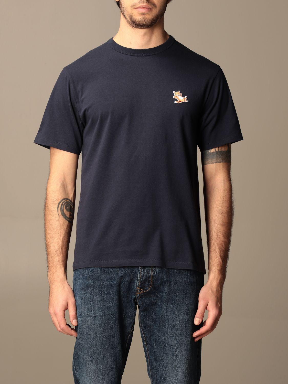 T-shirt Maison Kitsuné: T-shirt Maison Kitsuné in cotone con logo blue navy 1