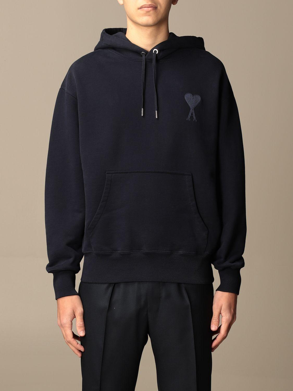 Sweatshirt Ami Alexandre Mattiussi: Ami Alexandre Mattiussi hooded sweatshirt with logo navy 1