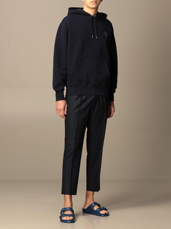 Sweatshirt Ami Alexandre Mattiussi: Ami Alexandre Mattiussi hooded sweatshirt with logo navy 2