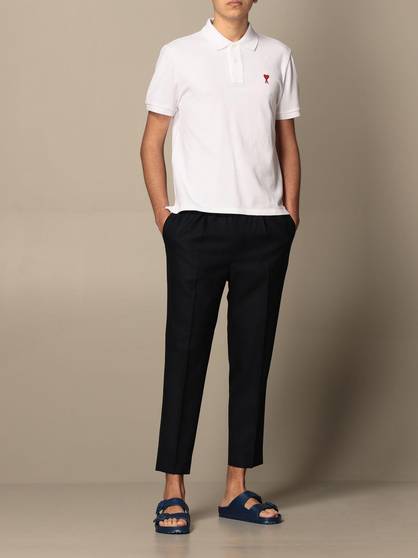 Polo shirt Ami Alexandre Mattiussi: Polo shirt men Ami Alexandre Mattiussi white 2