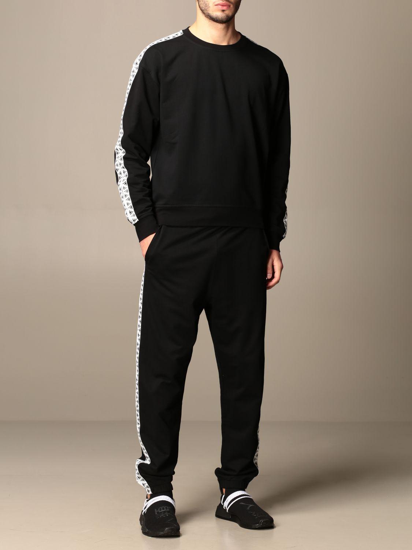 Sweatshirt Alessandro Dell'acqua: Alessandro Dell'acqua crewneck sweatshirt with patterned bands black 2