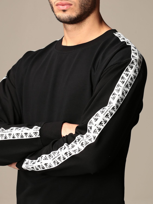 Sweatshirt Alessandro Dell'acqua: Alessandro Dell'acqua crewneck sweatshirt with patterned bands black 4