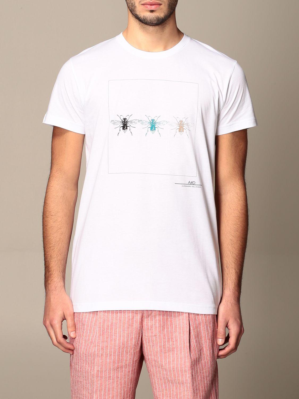 T-shirt Alessandro Dell'acqua: T-shirt Alessandro Dell'acqua in cotone con stampa bianco 1