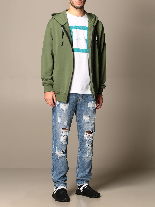 Sweatshirt Alessandro Dell'acqua: Alessandro Dell'acqua hooded sweatshirt with back print green 2