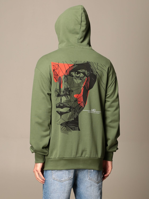 Sweatshirt Alessandro Dell'acqua: Alessandro Dell'acqua hooded sweatshirt with back print green 3
