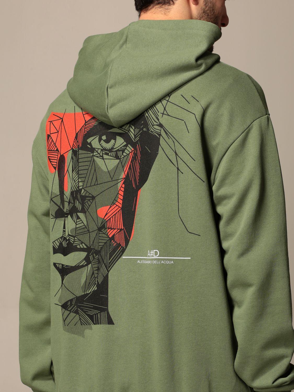 Sweatshirt Alessandro Dell'acqua: Alessandro Dell'acqua hooded sweatshirt with back print green 4