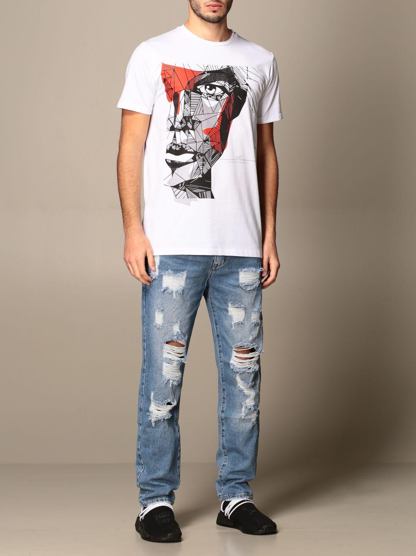 T-shirt Alessandro Dell'acqua: T-shirt Alessandro Dell'acqua in cotone con stampa bianco 2