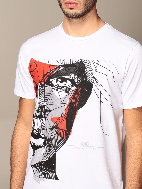 T-shirt Alessandro Dell'acqua: T-shirt Alessandro Dell'acqua in cotone con stampa bianco 4