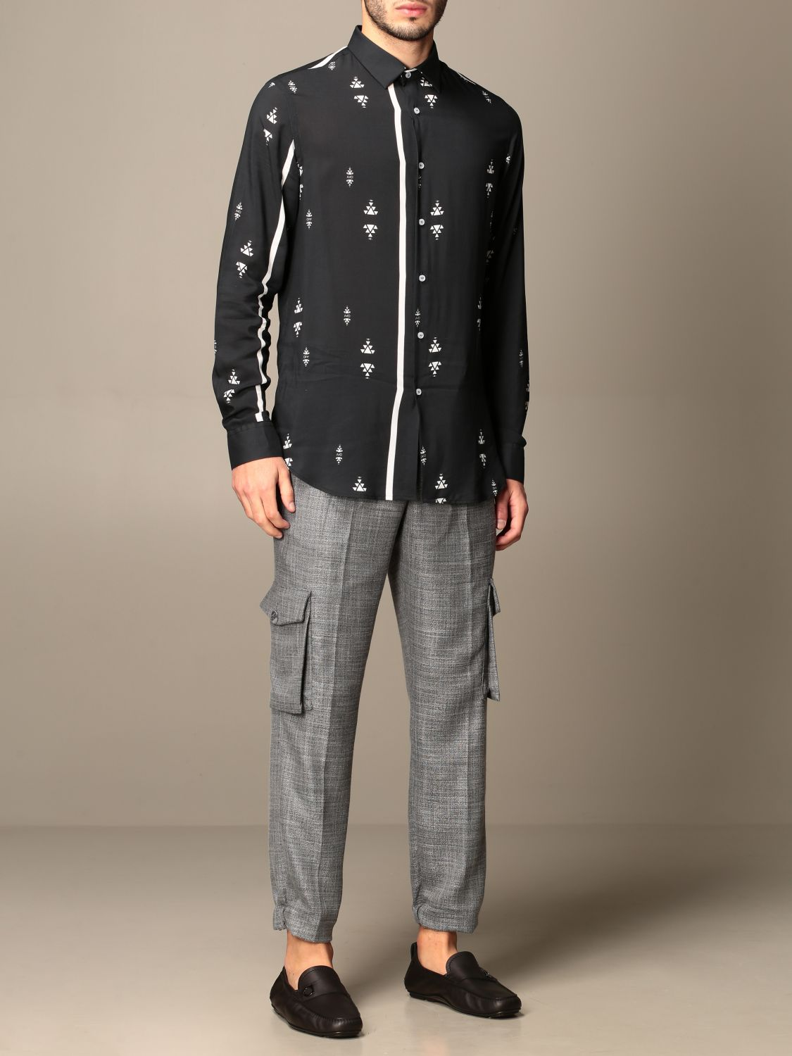 Shirt Alessandro Dell'acqua: Alessandro Dell'acqua shirt in patterned viscose black 2