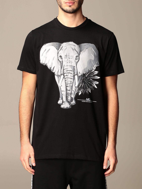 T-shirt Alessandro Dell'acqua: T-shirt Alessandro Dell'acqua in cotone con stampa elefante nero 1