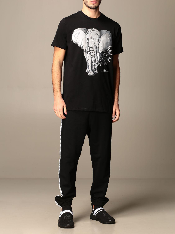 T-shirt Alessandro Dell'acqua: T-shirt Alessandro Dell'acqua in cotone con stampa elefante nero 2