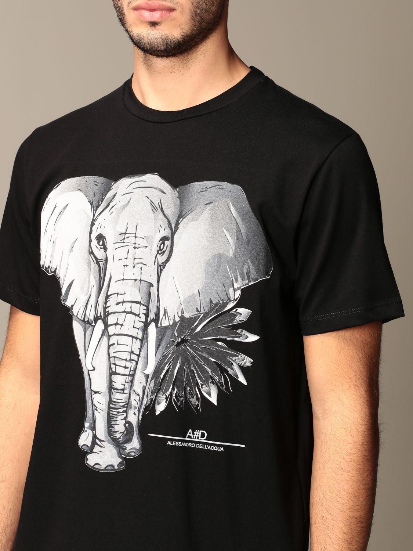 T-shirt Alessandro Dell'acqua: T-shirt Alessandro Dell'acqua in cotone con stampa elefante nero 4