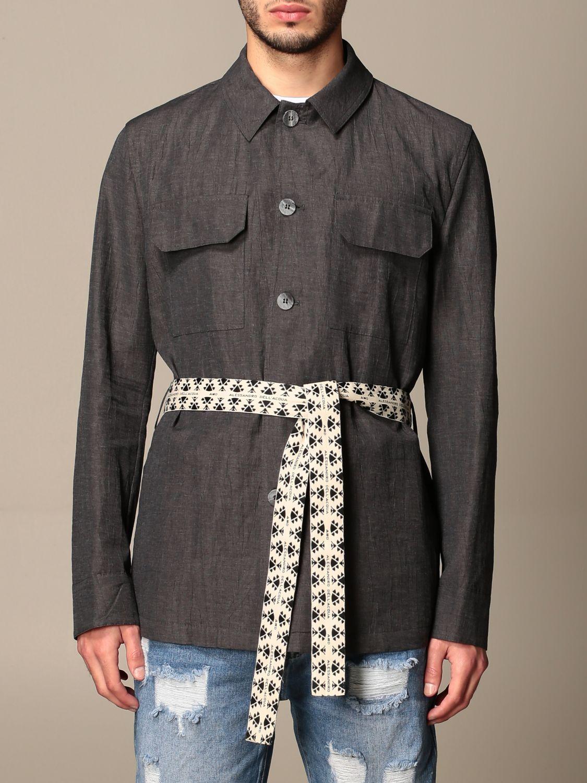 Camicia Alessandro Dell'acqua: Camicia Alessandro Dell'acqua con cinta a fascia grigio 1