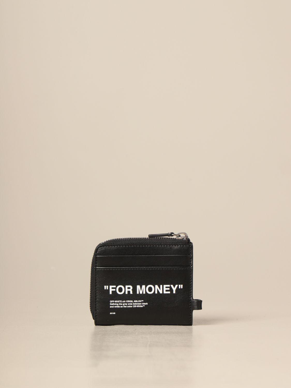 Portafoglio Off White: Portamonete Off White in pelle con scritta nero 2