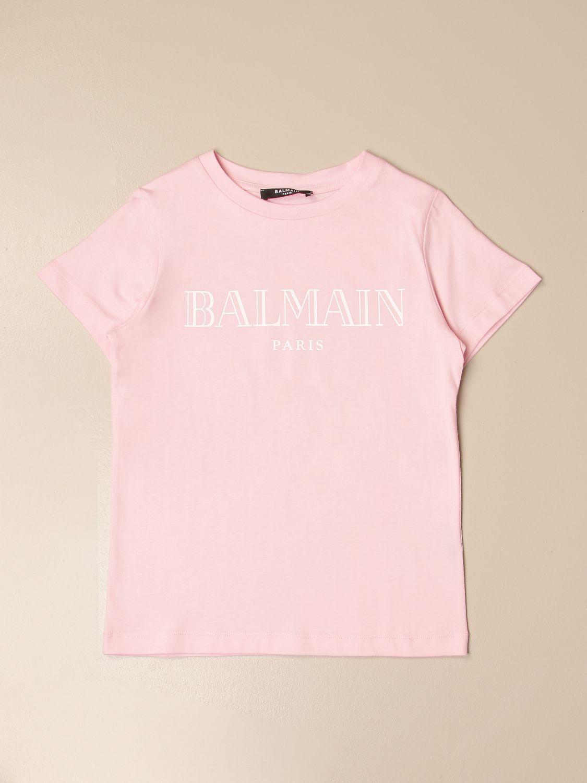 T-shirt Balmain: T-shirt Balmain in cotone con logo rosa 1