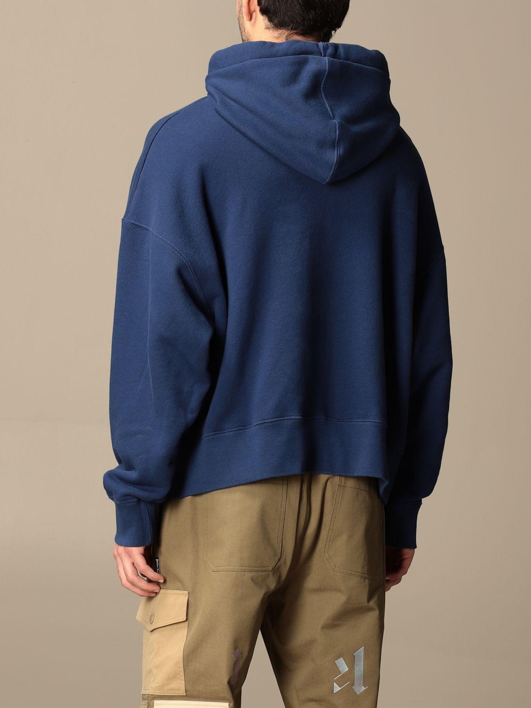 Felpa Palm Angels: Felpa con cappuccio Palm Angels in cotone con logo blue navy 3