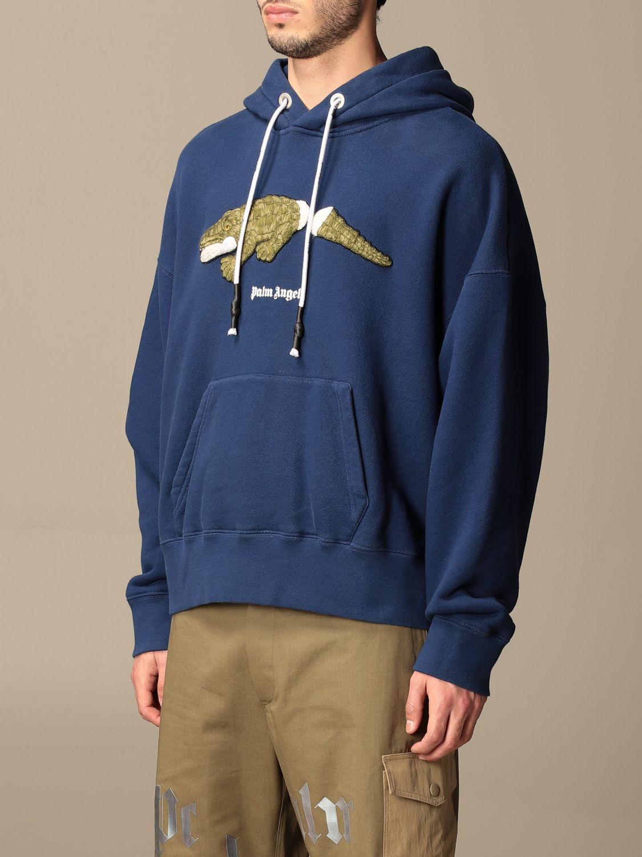Felpa Palm Angels: Felpa con cappuccio Palm Angels in cotone con logo blue navy 4