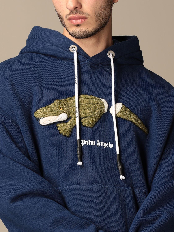 Felpa Palm Angels: Felpa con cappuccio Palm Angels in cotone con logo blue navy 5