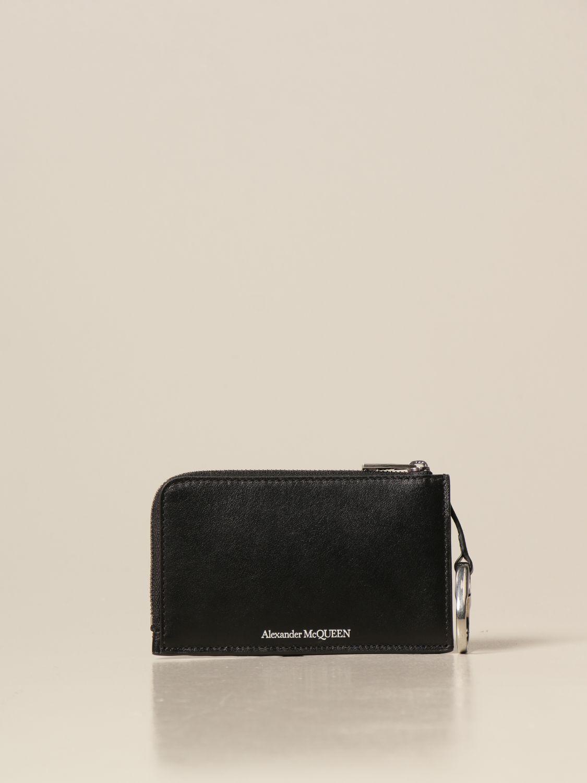 Portafoglio Alexander Mcqueen: Porta carte di credito Alexander McQueen in pelle con logo nero 1