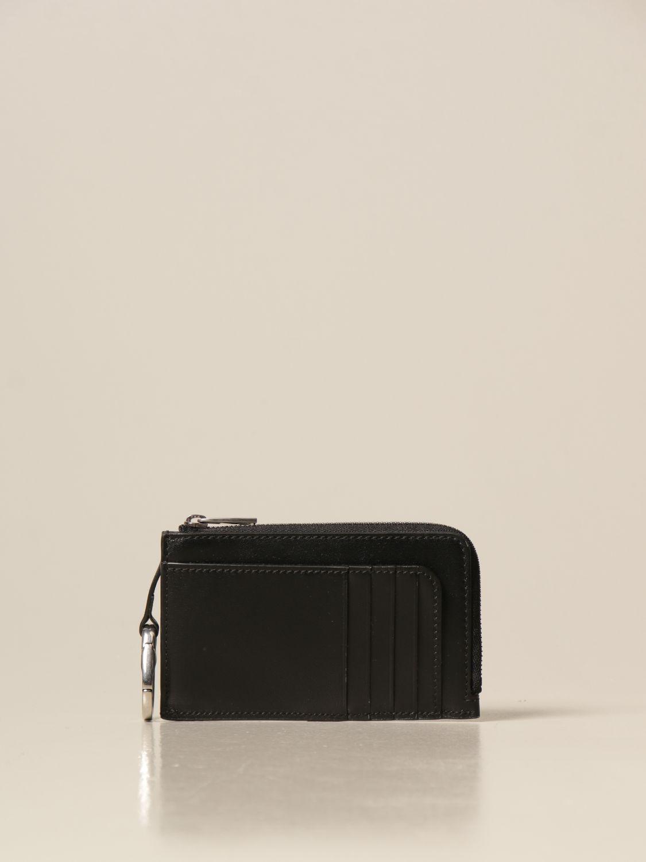 Portafoglio Alexander Mcqueen: Porta carte di credito Alexander McQueen in pelle con logo nero 2