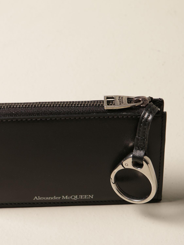 Portafoglio Alexander Mcqueen: Porta carte di credito Alexander McQueen in pelle con logo nero 3