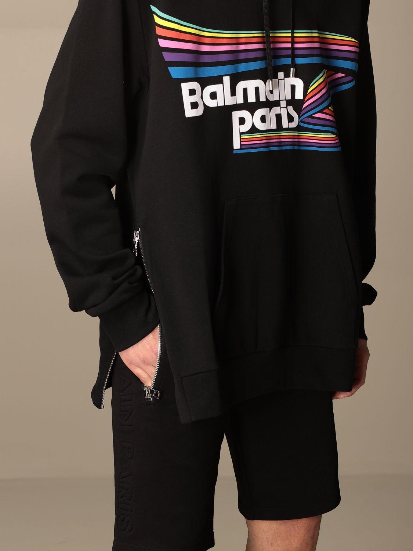 Felpa Balmain: Felpa con cappuccio Balmain in cotone con stampa logo fantasia 5