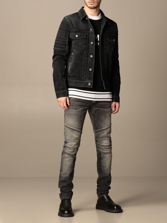 Giacca Balmain: Giacca di jeans Balmain con zip nero 2