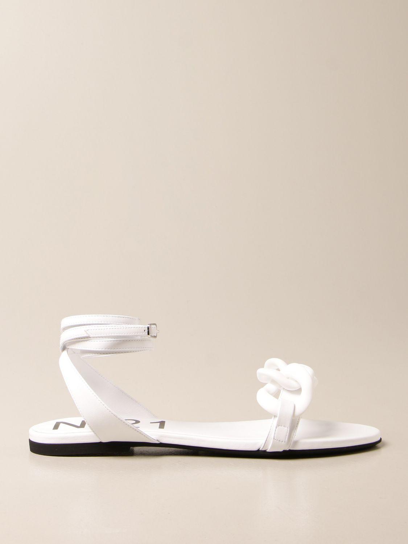 Flache Sandalen N° 21: Schuhe damen N° 21 weiß 1