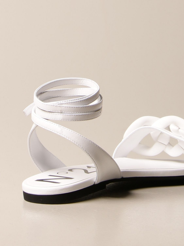 Flache Sandalen N° 21: Schuhe damen N° 21 weiß 3