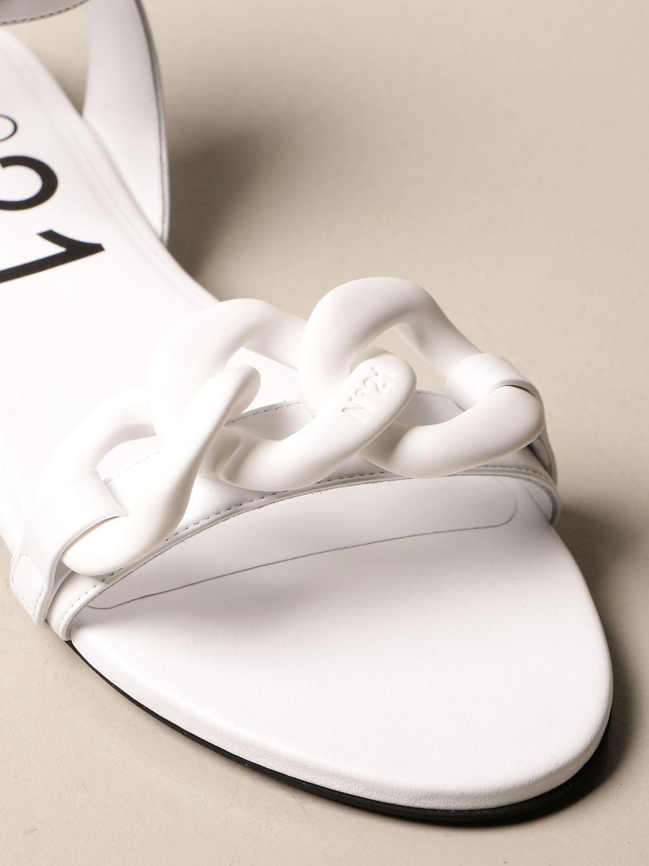 Flache Sandalen N° 21: Schuhe damen N° 21 weiß 4