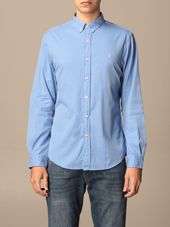 Shirt Polo Ralph Lauren: Polo Ralph Lauren cotton shirt with button down collar gnawed blue 1