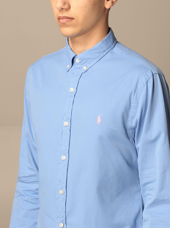 Shirt Polo Ralph Lauren: Polo Ralph Lauren cotton shirt with button down collar gnawed blue 3