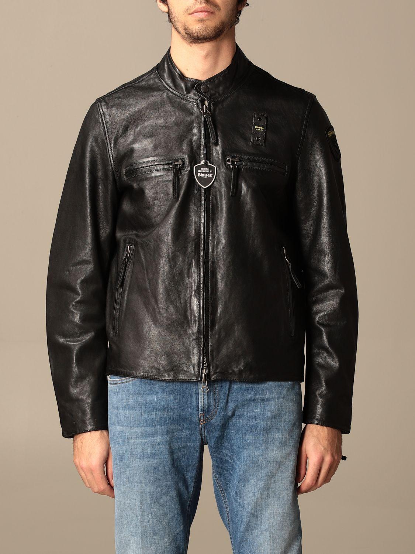 Giacca Blauer: Chiodo di pelle Blauer con logo nero 1