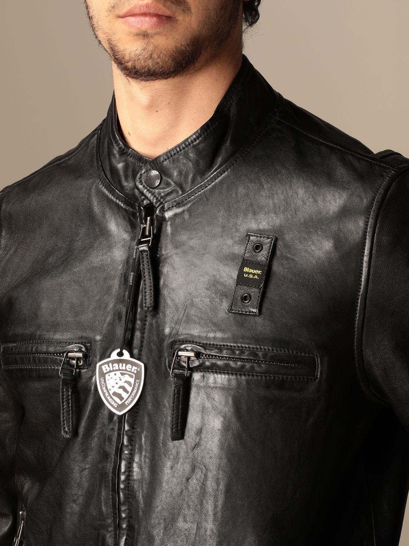 Giacca Blauer: Chiodo di pelle Blauer con logo nero 3