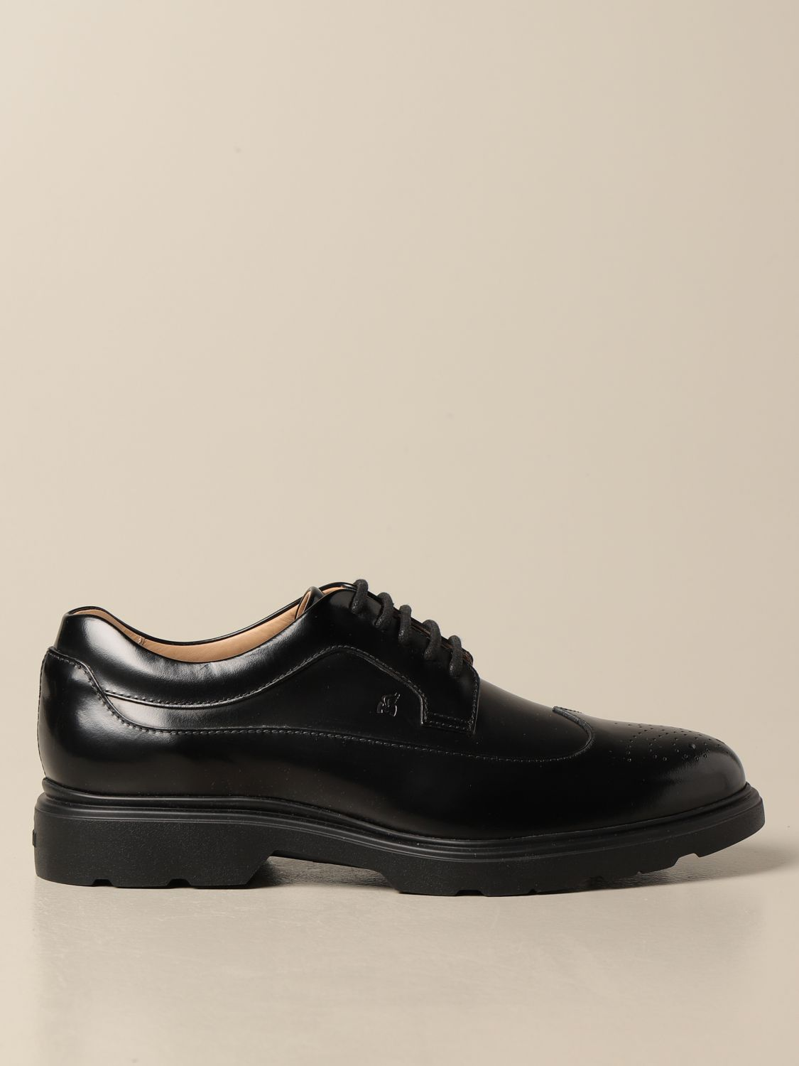 H393 Hogan derby in leather with brogue motif