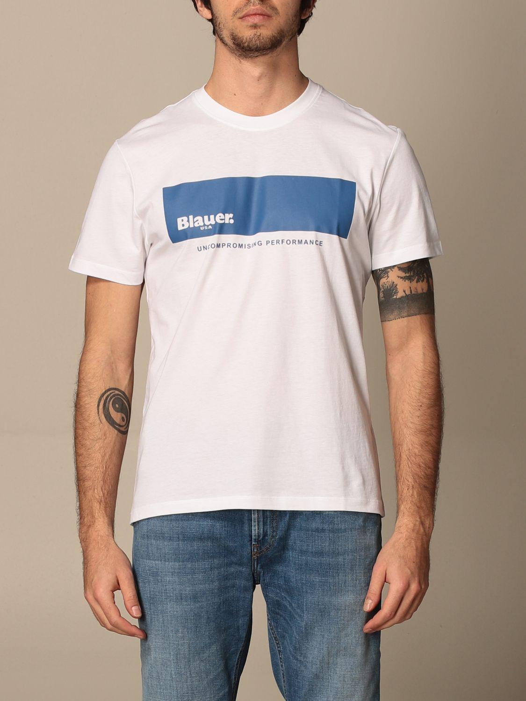 T-shirt Blauer: T-shirt Blauer in cotone con logo bianco 1