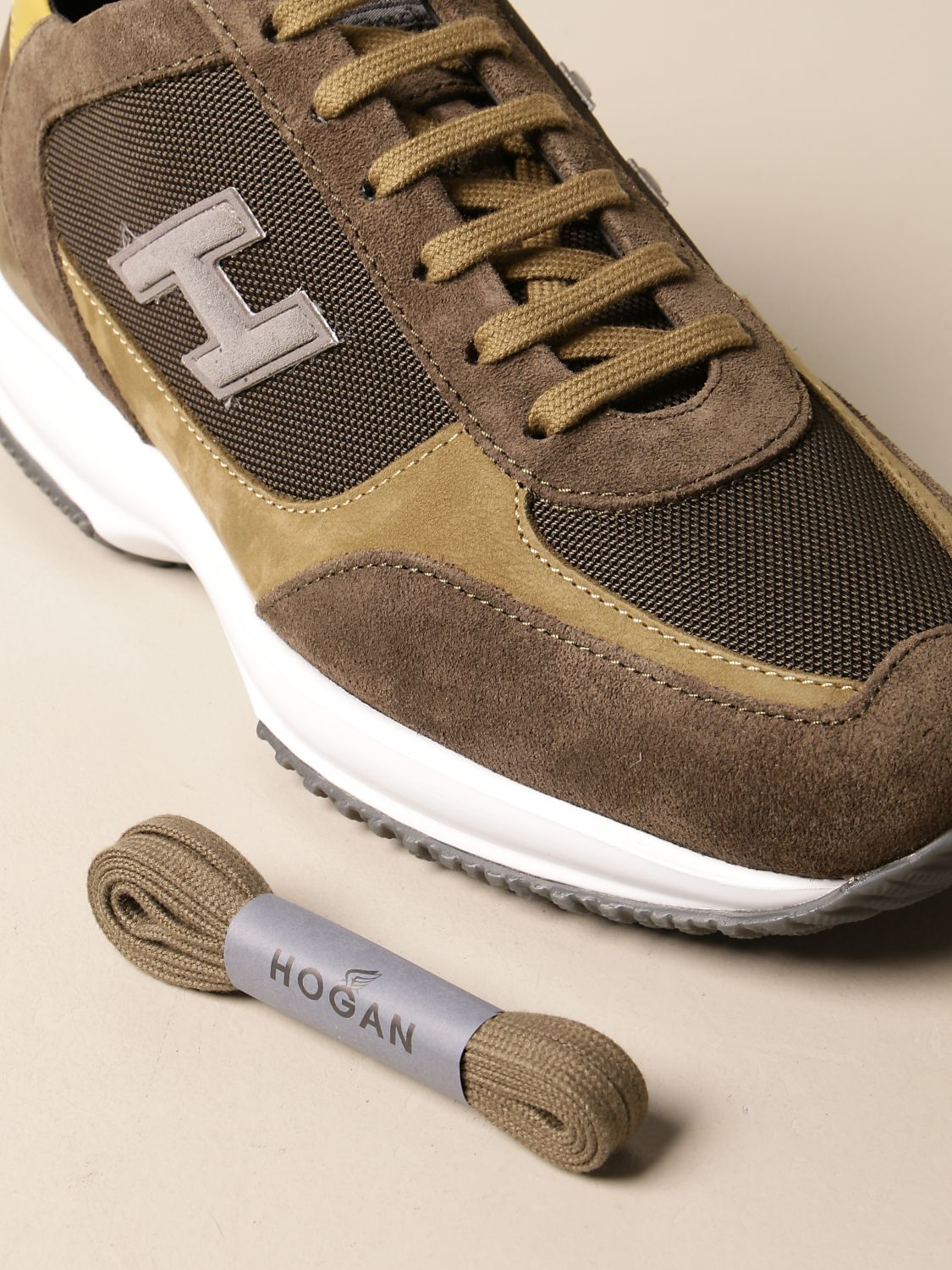 HOGAN: Interactive sneakers in nubuck and mesh with H flock ...