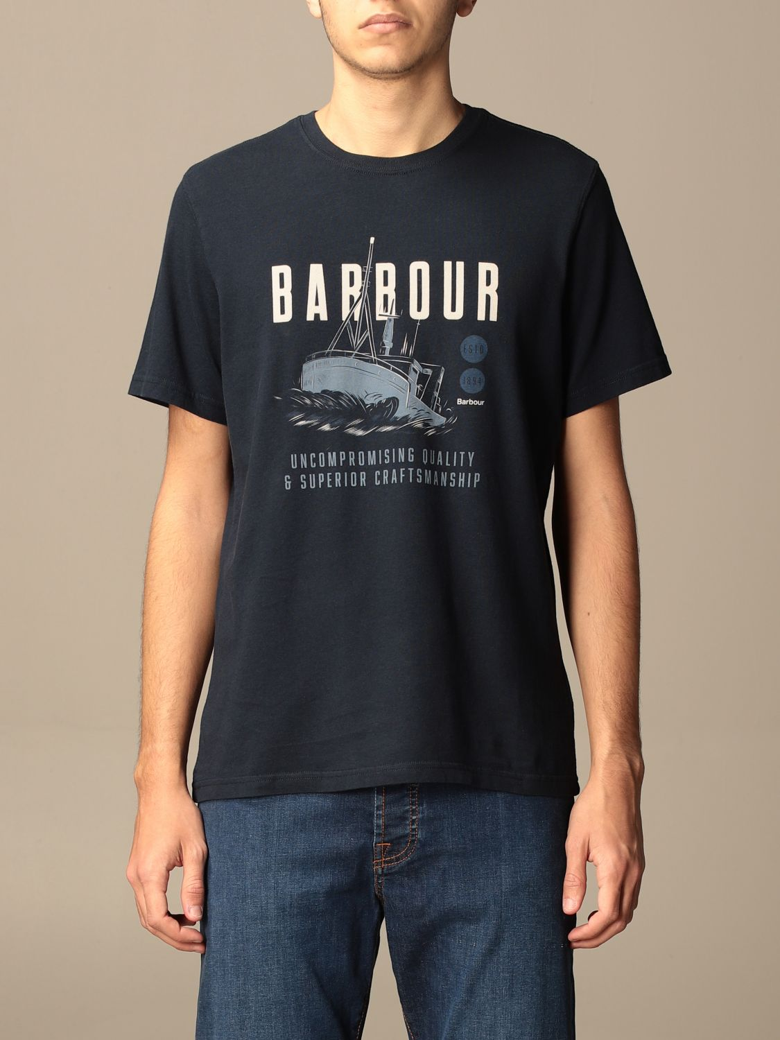 T-shirt Barbour: T-shirt Barbour in cotone con stampa blue navy 1