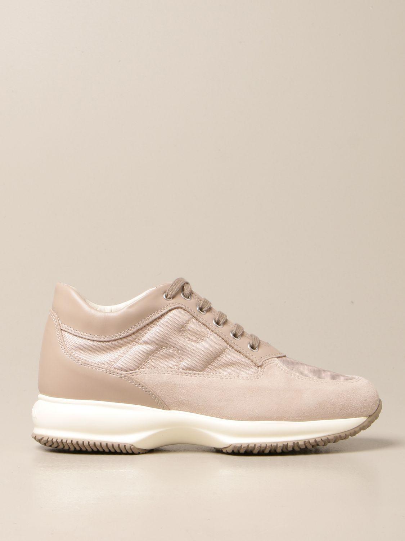 HOGAN: Sneakers Interactive in pelle e camoscio con H bombata ...