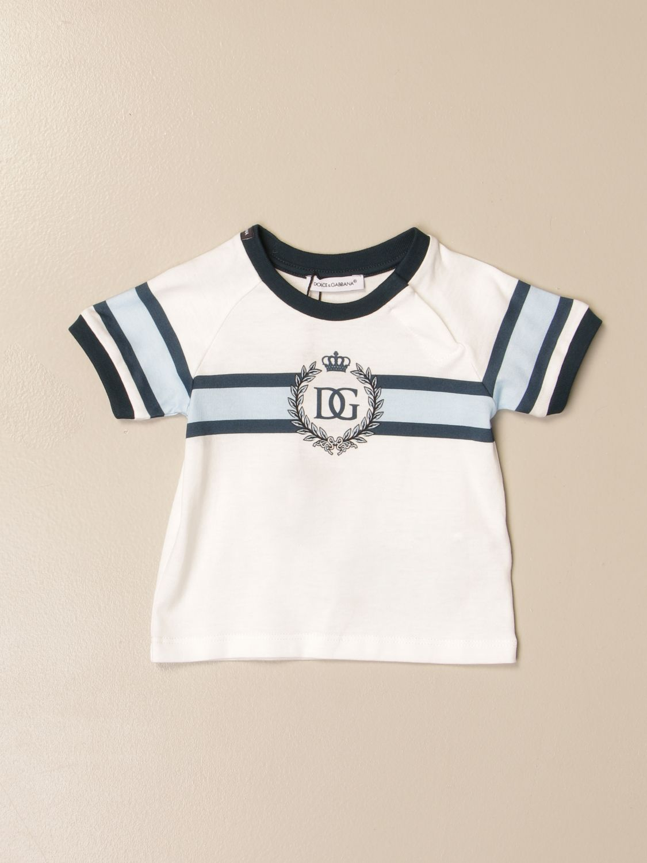 T-shirt Dolce & Gabbana: T-shirt Dolce & Gabbana in cotone con logo panna 1