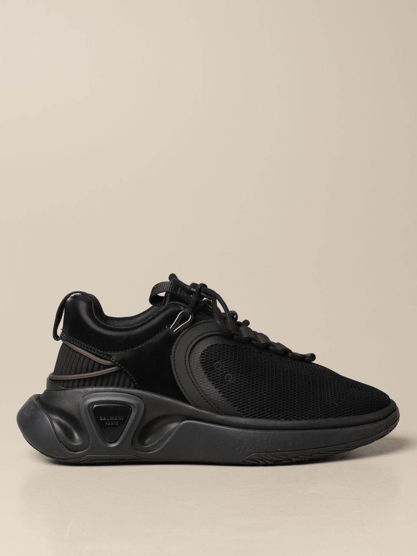 Jeans Balmain: Balmain lace-up sneakers in mesh satin and rubber black 1