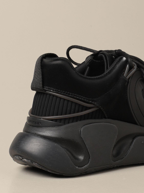 Jeans Balmain: Balmain lace-up sneakers in mesh satin and rubber black 3
